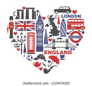 England, London, UK. Collection of flat icons in the form of a heart. Vector illustration