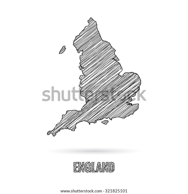 Map Of England Drawing.England Map Hand Draw Stock Vector Royalty Free 321825101