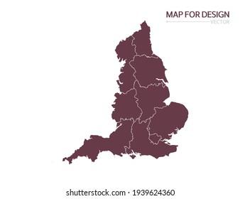 England map on white background vector illustration.