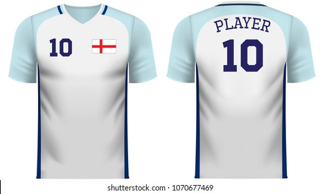 England national soccer team shirt in generic country colors for fan apparel.
