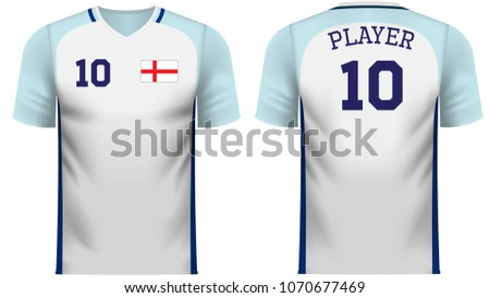 d2ed8c03 England national soccer team shirt in generic country colors for fan apparel .