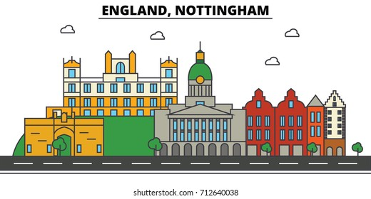 England, Nottingham. City skyline: architecture, buildings, streets, silhouette, landscape, panorama, landmarks. Editable strokes. Flat design line vector illustration concept. Isolated icons set