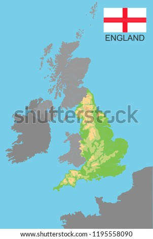 Map Of Uk Mountains And Rivers.England England Part Uk Bordered By Stock Vector Royalty Free