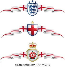 England Patriotic Banner Set. Vector graphic banners and shields representing England