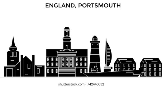 England, Portsmouth architecture vector city skyline, travel cityscape with landmarks, buildings, isolated sights on background