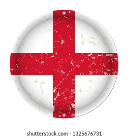 England - round metallic scratched flag with six screw holes in front of a white background