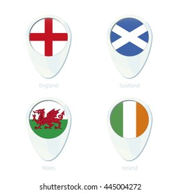 England, Scotland, Wales, Ireland flag location map pin icon. Vector Illustration.