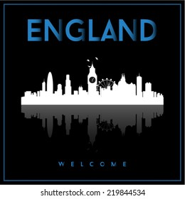 England skyline silhouette vector design on black background.