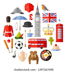 England symbol set in flat style. UK vector attributes. Most famous symbols and sights of the country. Collection of icons on the theme of travel in the UK