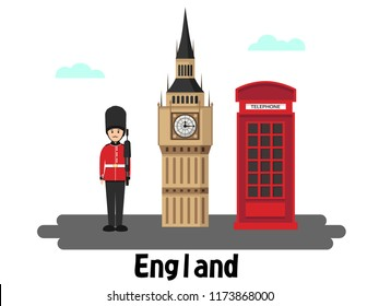 England traditional set. United Kingdom Flat Icons Design Travel Concept.Vector