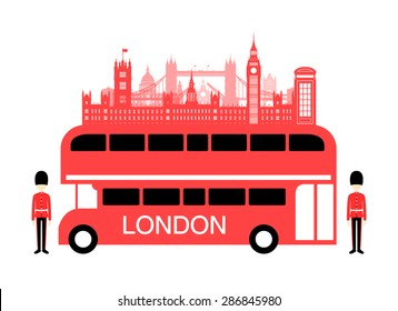England Travel Bus. Vector and Illustration