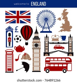 England UK sightseeing landmarks and famous vector travel attractions poster.