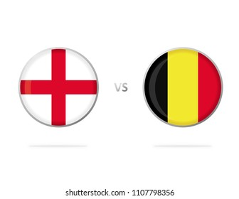 England vs Belgium. Englsish Flag. White Background. Football Competition. Match. Flags in a Circles. Vector Graphic. Group G.