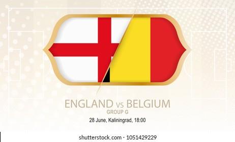England vs Belgium, Group G. Football competition, Kaliningrad. On beige soccer background.