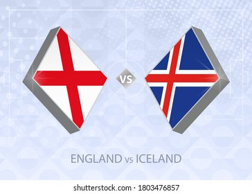 England vs Iceland, League A, Group 2. European Football Competition on blue soccer background.
