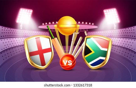 England vs South Africa cricket match poster design, participants countries flag shields, cricket bat, ball and champion trophy on night stadium view background.