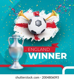 England winner Football 2020 championship. Gold foil confetti winner cup. Vector illustration with colored label isolated on blue background.