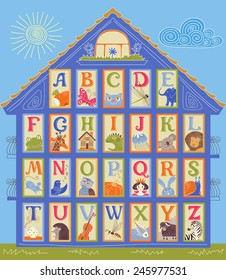 English Alphabet cards in a shape of the house. Letters and drawings. ABC print.