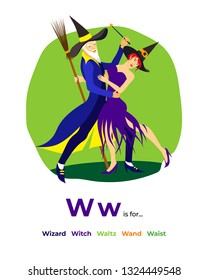 English alphabet Colored cartoon with letter W for children, with pictures to these letter with wizard, witch, waltz, wand, waist. - Vector