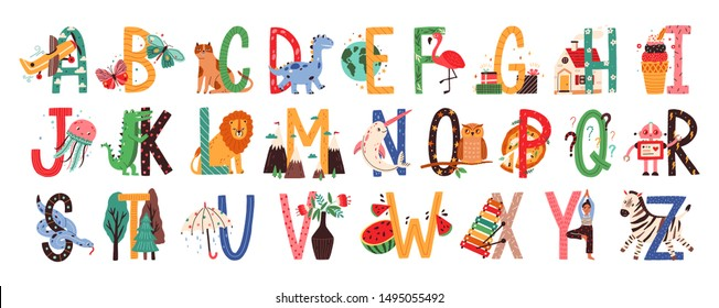English alphabet with cute animals vector illustrations set. Isolated capital letters with related Scandinavian style birds, mammals, fruits. Childish font for kids ABC book symbols pack.