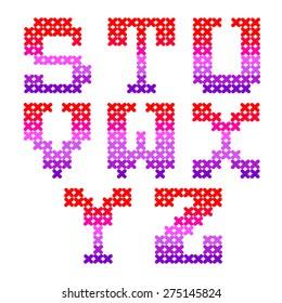 English alphabet. Embroidery.