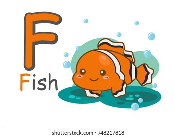 English alphabet f with picture of fish