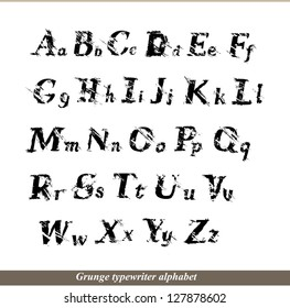 English alphabet - grunge typewriter letters