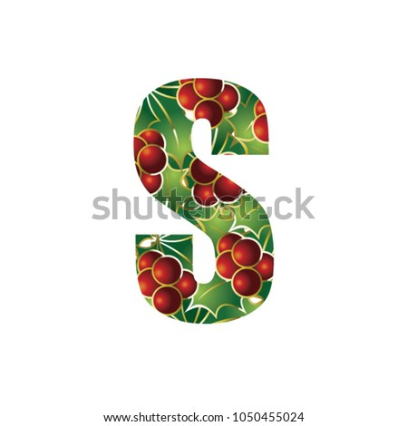 english alphabet letter s with christmas decorations vector illustration - Christmas Letter Decorations