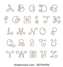 English alphabet letters with an anchor and rope set. Font style, vector design template elements. This letters can be used as trademark or a print on fabric.