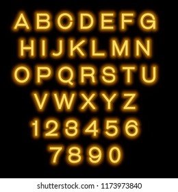 English alphabet and numbers. Neon style. Orange letters.