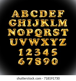 English alphabet and numerals from yellow Golden balloons on a black background. holidays and education art