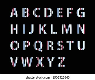 English alphabet set, colorful capital letters, beautiful, with white, red, gray, alternately beautiful On a black background, A B C D E F G H I J K L M N O P Q R S T U V W X Y Z - vector