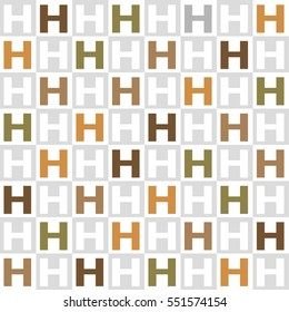 English alphabet tile,color and gray scale H - Geometric seamless pattern