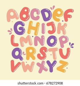 English alphabet vector, typography design. Background with set of decorative latin letters. Poster with colorful latin abc made in cute style. Hand drawn font. Different comic letters