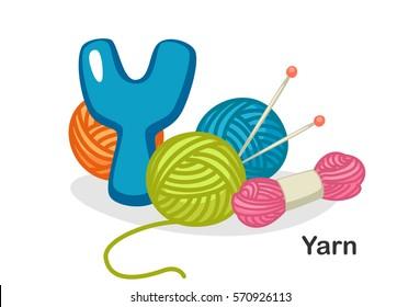 English alphabet Y, Y for yarn