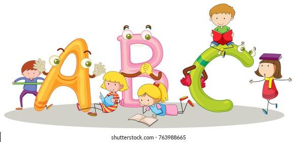 English alphabets and happy children illustration