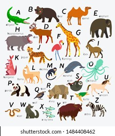 English Animal Alphabet. Vector Illustration.