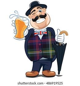 English beer drinker. Vector illustration