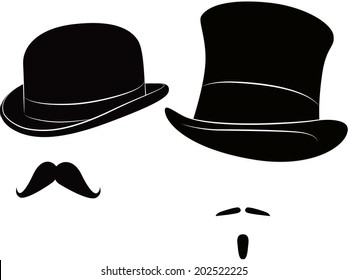 English bowler hat and cylinder and moustache for a real gentleman