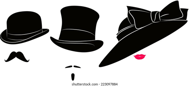 English bowler hat, cylinder, moustache for a real gentleman and womens elegant hat with bowknot for ladies and lips