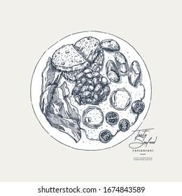 English breakfast engraved illustration. Vintage style image. Vector illustration