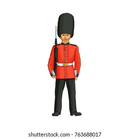 English, British royal guard, soldier, sentry in red uniform and bearskin hat, hand drawn vector illustration isolated on white background. Full length portrait of British, English, London royal guard