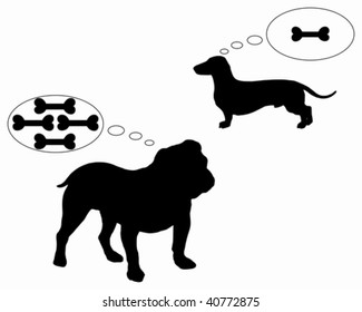 English bulldog and dachshund dream of bones