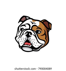 English bulldog face - isolated  vector illustration