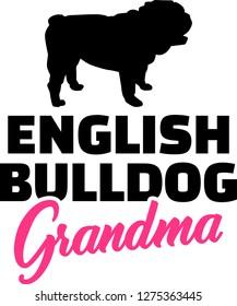 English Bulldog Grandma silhouette black