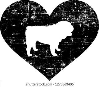 English Bulldog silhouette in black heart