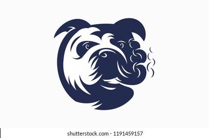 English bulldog smoke. Vector illustration