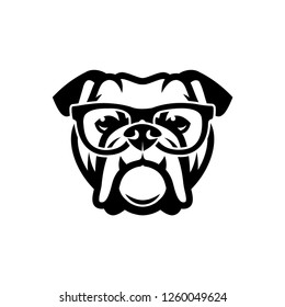 English bulldog wearing eyeglasses - isolated outlined vector illustration - Vector