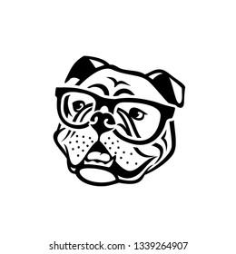 English bulldog wearing eyeglasses - isolated outlined vector illustration