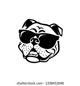 English bulldog wearing sunglasses - isolated outlined vector illustration
